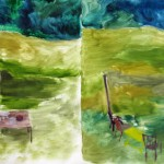 "Croquet ... oil on canvas ... 20"" x 42"""