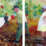 """Slow Rise to the Right Kind of Heavy / Versus Anything at All / Making Haste Over All That Is Left ... oil on canvas ... six panels, 30"""" x 18"""" each"""