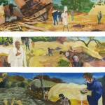 "Unearthing Utility ... oil on paper ... three panels, 9"" x 40"" each"