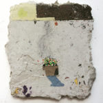 mixed media on pigmented paper pulp plaster on panel